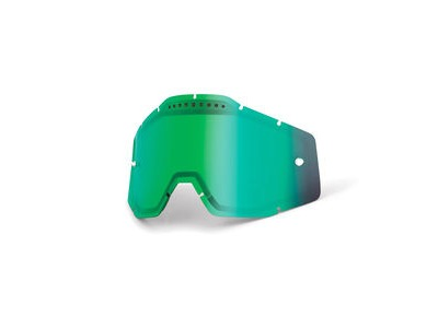 100% Accuri / Racecraft / Strata Vented Dual Pane Lens - Green Mirror
