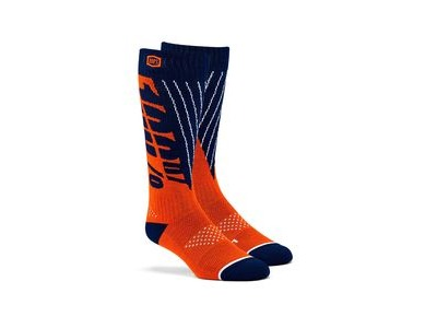 100% TORQUE Comfort Moto Socks Navy / Orange