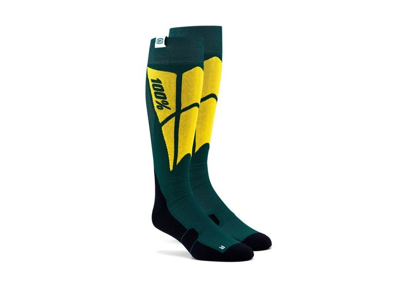 100% HI SIDE Performance Moto Socks Green click to zoom image
