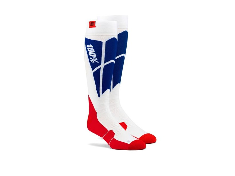 100% HI SIDE Performance Moto Socks White / Blue click to zoom image
