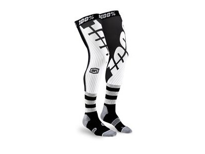100% REV Knee Brace Performance Moto Socks Black / White