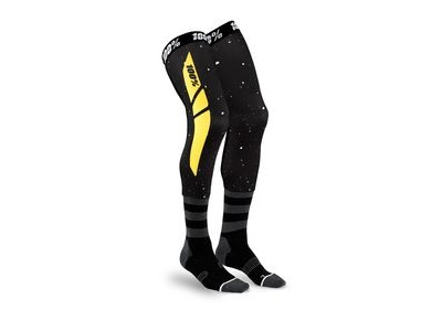 100% REV Knee Brace Performance Moto Socks Black / Yellow