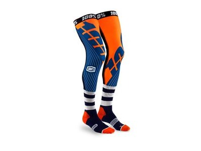 100% REV Knee Brace Performance Moto Socks Navy / Orange