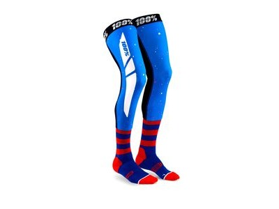 100% REV Knee Brace Performance Moto Socks Blue / Red