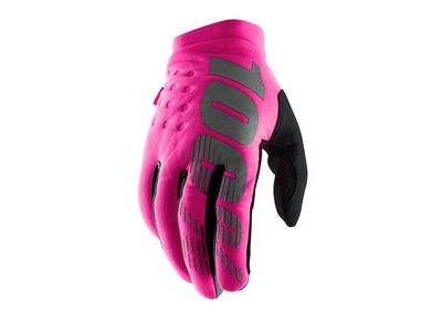 100% Brisker Women's Cold Weather Glove Neon Pink / Black