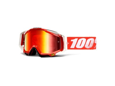 100% Racecraft Goggles Fire Red / Red Mirror Lens