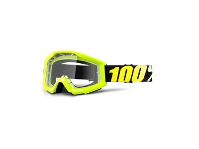 100% Strata Goggles Neon Yellow / Clear Lens