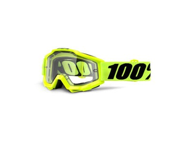 100% Accuri Enduro MOTO Goggles Fluo Yellow / Clear Dual Lens