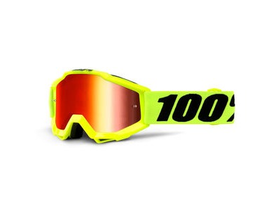 100% Accuri Youth Goggles Fluo Yellow / Red Mirror Lens