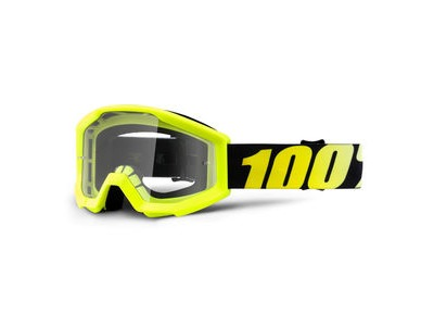 100% Strata Junior Goggles Neon Yellow / Clear Lens