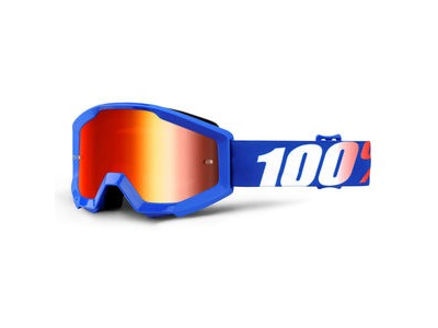 100% Strata Junior Goggles Nation / Red Mirror Lens