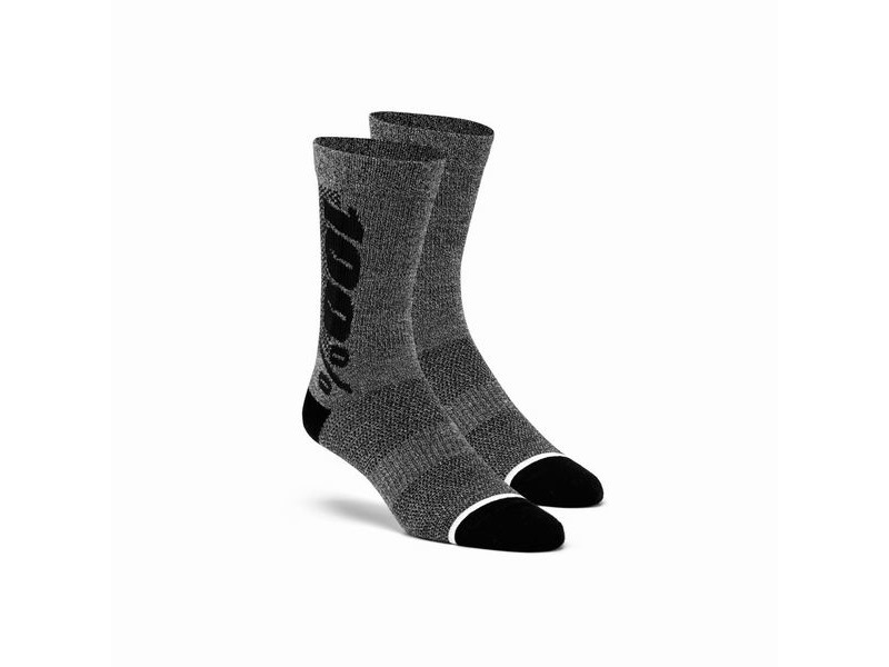 100% RHYTHM Merino Wool Performance Socks Charcoal click to zoom image